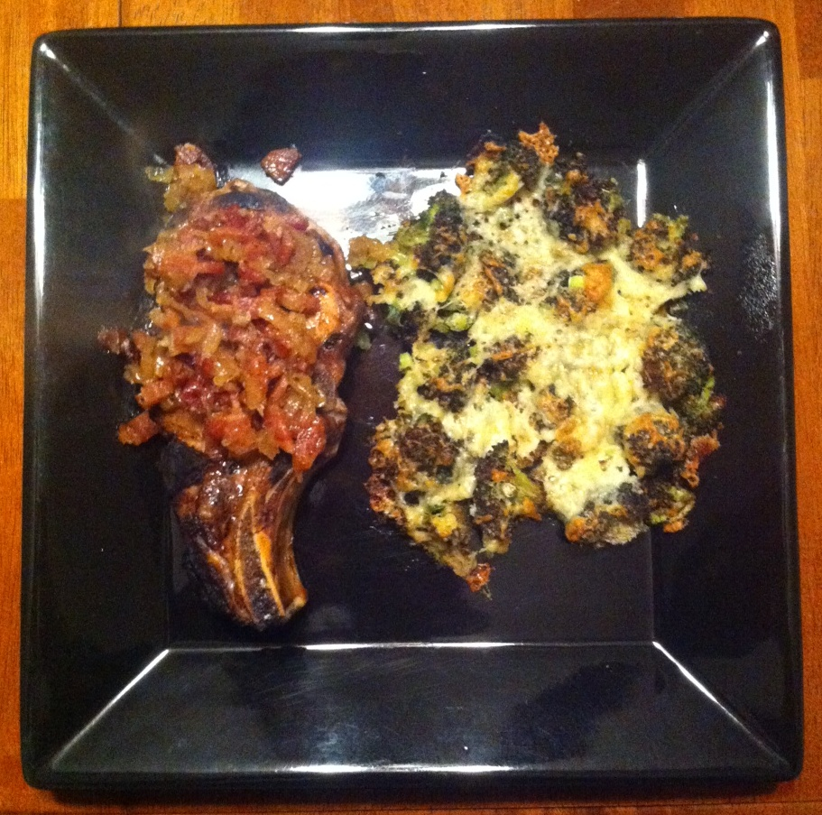 Cider-Brined Pork Chops with Maple-Bacon Chutney and Roasted Cheddar ...