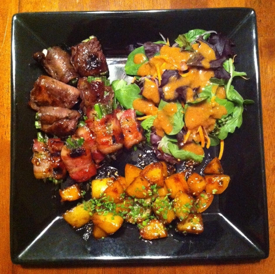 Beef Negimaki, Bacon Wrapped Asparagus Yakitori, Gamja Jorim and ...